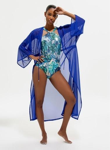 Loves You Beli Büzgülü Saten Görünümlü Maxi Plaj Elbisesi Saks